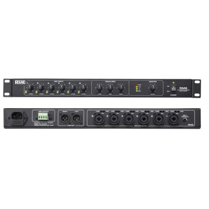 Rane RM6 - 6-Channel Mixer with Single-Channel 120W Power Amplifier